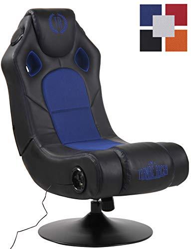 CLP Sillon Gaming Taupo Tapizada En Simil Cuero & En Microfibra I Silla Gamer Giratoria & con Sistema De Sonido & con Entrada USB I Color: Negro/Azul