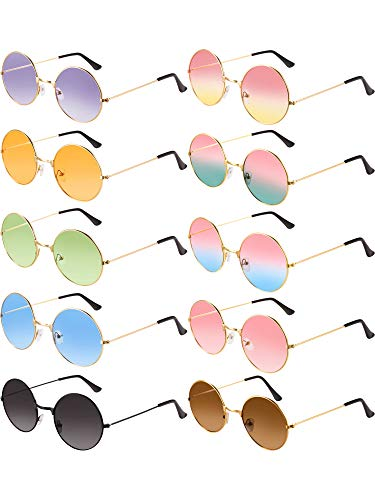 Blulu 10 Pairs Round Hippie Sunglasses John 60's Style Circle Colored Glasses (Gold Frame 2)