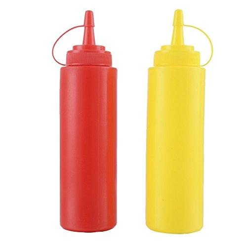 Lembeauty Quetsch-Saucen-Flaschen, Kunststoff, Gewürzbehälter, Spender für Senf, Ketchup, Öl, Honig, Salat, Dressing, 2er Set