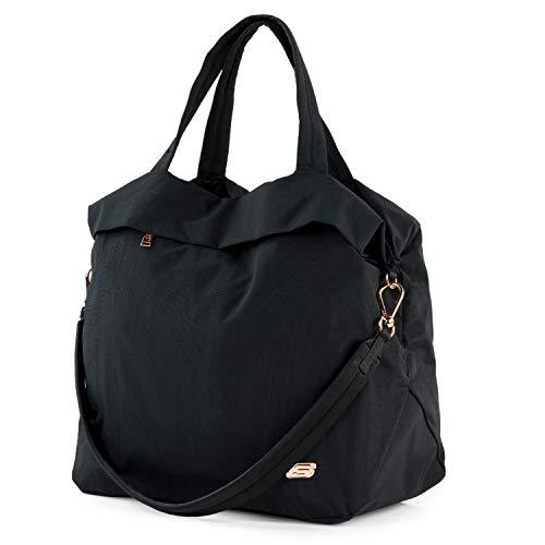 SKECHERS - Bolso Tote con Bandolera Desmontable Unisex. Ideal para Usar Todos los días. Práctica, cómoda, Ligera y Funcional. S1003, Color Negro