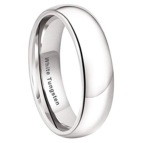 iTungsten 6mm White Tungsten Rings for Men Women Wedding Bands Domed Polished Shiny Comfort Fit