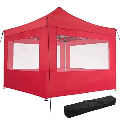 TecTake 800686 Carpa de Jardín 3 x 3m, Plegable, Aluminio, 100% Impermeable, 4 Paneles Laterales, con Cuerdas Tensoras, Piquetas y Bolsa (Rojo | no. 403156)