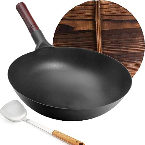 Carbon Steel Wok YTFGGY Wok Pan for Gas Stoves 12 6 Woks and Stir Fry Pans Traditional Chinese product image