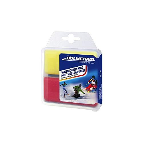 Holmenkol Unisex– Erwachsene Worldcup Mix Skiwachs, Yellow-red, 2X 35 Gramm