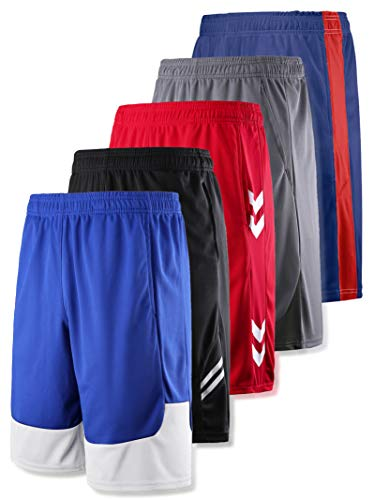 Liberty Imports Pack of 5 Men's Athletic Basketball Shorts Mesh Quick Dry Activewear with Pockets (XX-Large, Edition 2)