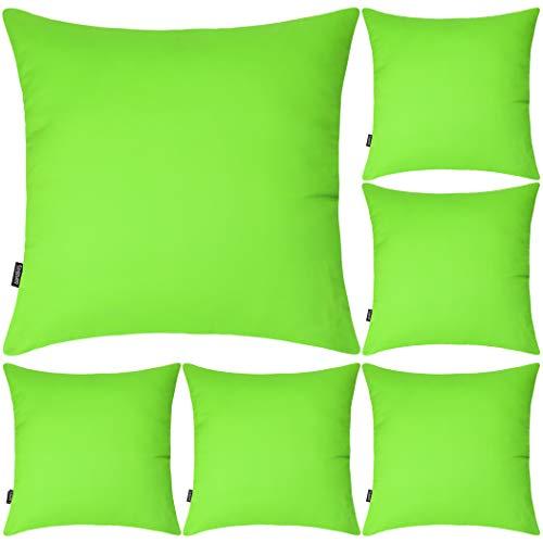 Juego de 6 fundas de almohada decorativas 100% algodón, 45 x 45 cm, cuadradas, fundas de almohada sólidas para el hogar, cama, sofá (verde, 6 unidades de 45 x 45 cm)