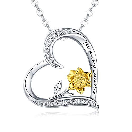 Sterling Silver Sunflower Necklace S925 Heart Pendant CZ Pave 18K Gold Dipped Flowers Necklaces Jewelry Gift for Women Mom Lover Friends