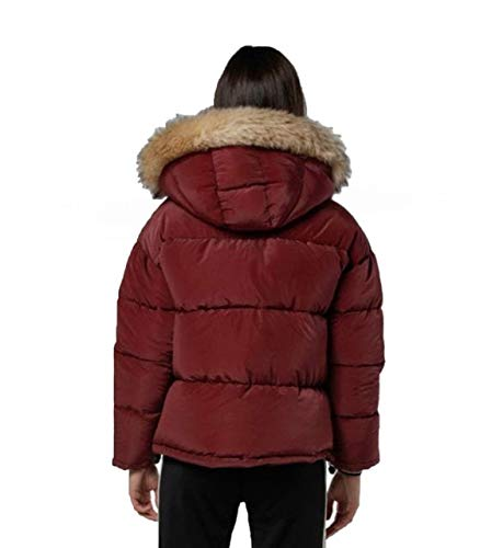 Sik Silk - Chaqueta Tipo Plumas SSW-1333 SHORTT Puff Parka Jacket Burgundy -Chaqueta DE Abrigo para Mujer (XS)