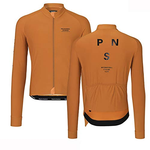 Maillot Bicicleta Traje Ciclismo Vestimenta Giant MontañA Top Hombre Mujer En Deportes Y Aire Libre Manga Larga Camiseta MTB con Bolsillos Fino Camisa de Secado rápido,Orange,3XL