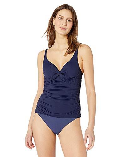 Anne Cole Women's Twist Front Underwire Cup Sized Tankini Swim Top, Navy, 36B/34C