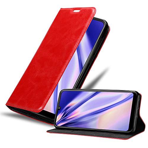 Cadorabo Hülle für Motorola Moto E6 Plus in Apfel ROT - Handyhülle mit Magnetverschluss, Standfunktion & Kartenfach - Hülle Cover Schutzhülle Etui Tasche Book Klapp Style