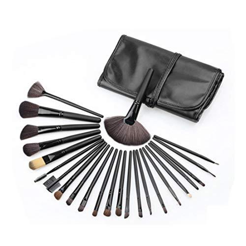 Hexiaoyi Portable Makeup Brush Set Tools Make-up Toiletry Kit Nylon Cosmetic Brush Eye Brush 24 In 1 (Color : Black)