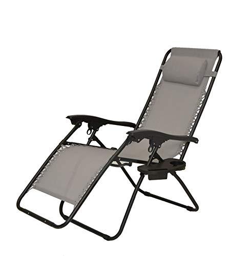 XONE Poltrona Sdraio reclinabile Pieghevole Paradise con Vassoio portabevande/Cellulare/Telecomando - Portata Massima 120 kg - Textilene 2x1