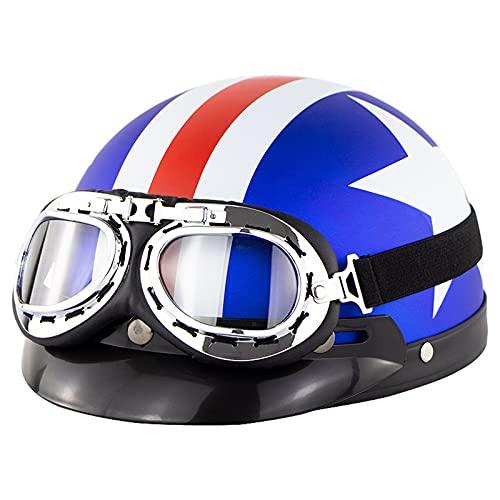 YXST Casco Moto,Scooter Casco De ProteccióN,Retro Moto-Casco con Gafas Casco De Esquí Certificado CE para Deportes Extremos Accesorios Esenciales para Deportes Al Aire Libre 57-60cm,3
