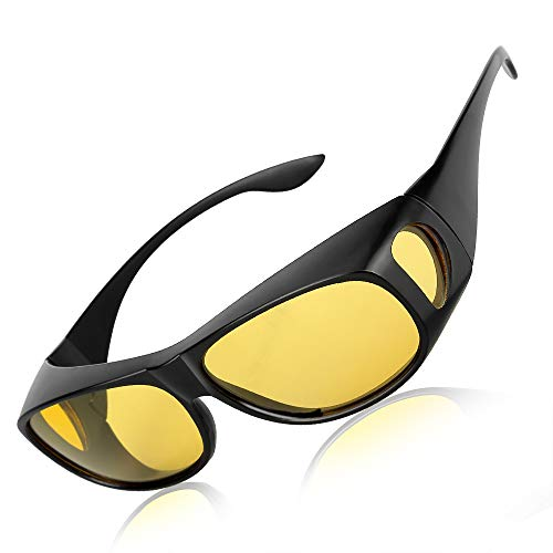 HD Night Driving Glasses Wrap Around Glasses Fit Over Polarized Night Vision Glasses
