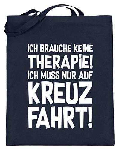 shirt-o-magic Schiffsreise: Therapie? Lieber auf Kreuzfahrt - Jutebeutel (mit langen Henkeln) -38cm-42cm-Deep Blue