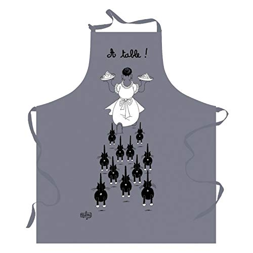 Winkler - Tablier de cuisine - Tablier de cuisine réglable - Tablier pour la cuisine - Tablier barbecue - Tablier 100% Coton - 72 x 85 - Gris - Chats Dubout