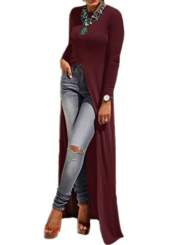 MACCHIASHINE Sexy Open Front Split Long Sleeve Party Maxi Dress Tunic Shirt Tops(WR-3XL) Wine Red