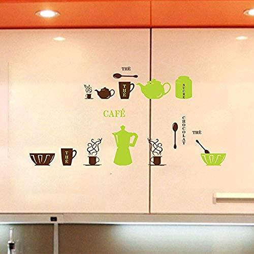 YFKSLAY Wandaufkleber Küche Zimmer Schüssel Kaffeetasse Kessel Schrank Fliesen Wanddekoration Tapete Poster Kunst Abnehmbare PVC Grafik Grafik Wandbild