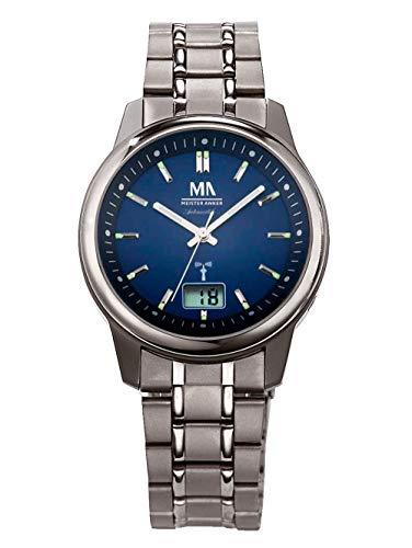 Meister Anker Herren Funkuhr – Armbanduhr mit Analog- und Digital-Anzeige, Titan-Uhr mit Glieder-Armband, bis 5 ATM wasserdicht, in Blau