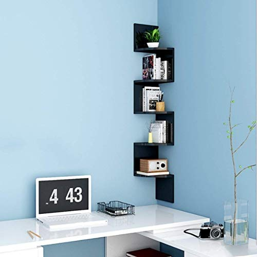 Drijvende rekken wandmontage zwart/wit 5-traps hoekwandplanken onzichtbare montage boekenplanken woonkamer werkkamer opslag display organizer unit (kleur: wit) zwart