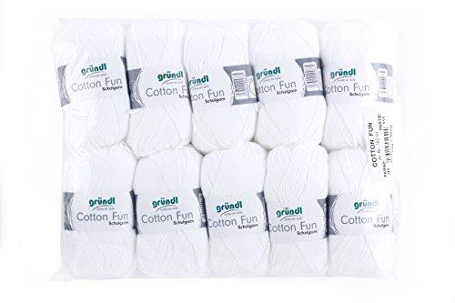Gründl Cotton Fun Wolle, Baumwolle, weiß, 27 x 11 x 7 cm, 10-Einheiten