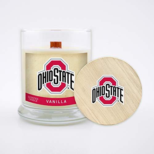 NCAA Ohio State Buckeyes 8 oz Vanilla Scented Soy Wax Candle, Wood Wick and Lid