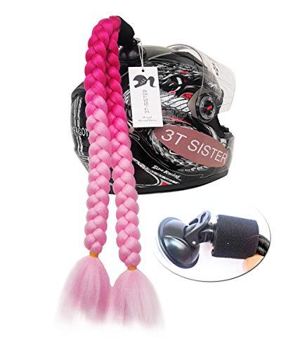 3T-SISTER - Accesorio de Cola de Cerdo para Casco de Motocicleta, Bicicleta, bateo, Patines u Otros Cascos, 2 Trenzas de 61 cm, Muchos Colores + Adhesivo 3M Gratis