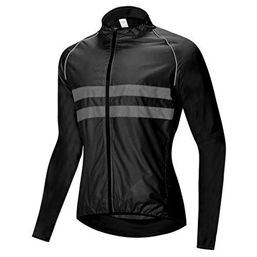 Maillot Ciclismo Hombre Camiseta Ciclismo Manga Larga,Bicicleta Jersey Camisas Shirts Chaqueta Bike Abrigo,Impermeable Respirable Lluvia Ropa Rompevientos Ropa Unisex(Size:XXL,Color:Negro)