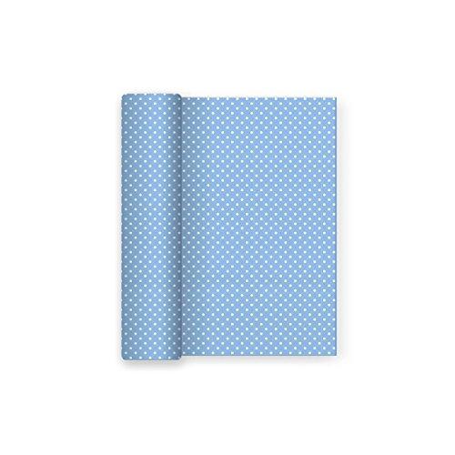 Mantel de papel para fiesta con decorado de Lunares Azul Baby - Ideal para fiestas infantiles, baby shower, comuniones o bautizos - 1,2 x 5 m