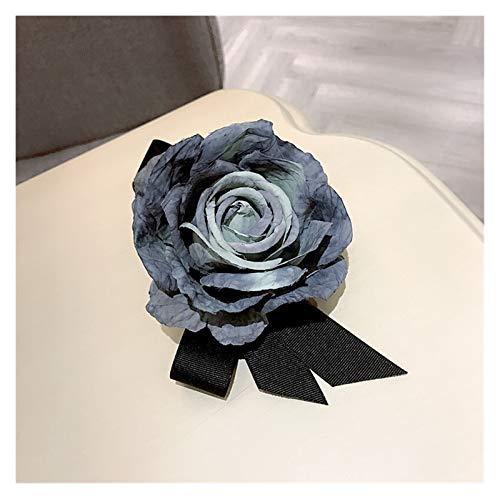 WanXingY Tela Coreana Gran Tela Flor Arco Broche Broche Lindo Broche Cabezal Sombrero Mujeres Accesorios Vestido Camisa Conjunto decoración Solapa Pasador (Color : Azul)