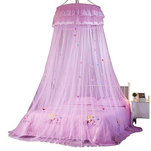HNSHAG - Zanzariera naturale per letto a baldacchino per interni ed esterni, con stelle decorative e lettere per camera da letto, giardino, campeggio, da appendere, colore: rosa