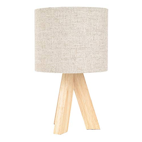 Small Rubber Brown Wood Tripod Table Lamp with 7' Natural Linen Oatmeal Drum Shade | Inline Switch | 40watt Maximum by Happy Homewares