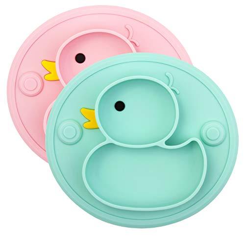Piastre di aspirazione per bambini, Piatto di alimentazione antiscivolo con ventose per la maggior parte di vassoi per seggiovie Approvazione FDA Portatile per seggiolone (Anatra Ciano/Rosa)