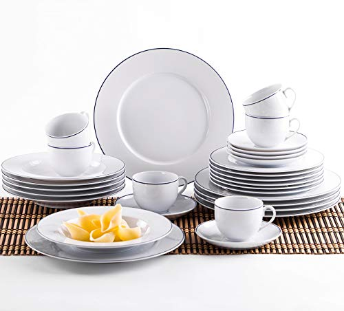 Kahla 050813O72045A Aronda Blaue Linie Geschirrset 30-teilig für 6 Personen Komplettset weißblau rund Suppenteller großer Speiseteller Tassen Snackteller