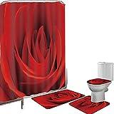Juego de cortinas baño Accesorios baño alfombras Rosa Alfombrilla baño Alfombra contorno Cubierta del inodoro Primer plano macro de una rosa roja Bloom Belleza natural fresca Día de San Valentín Parej