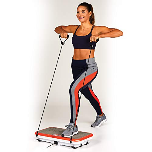 Powerfit Elite XL Vibration Plate Exercise Machine with Loop Resistance Bands - Whole Body Workout...