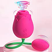Rose Vibrator Clitoral Sucking with Ball Vibrating Egg G spot Clitoris Stimulator Vaginal and Anal Sex Toy Masturbation 2 in 1, Rechargeable Clit Sucker Nipple Stimulator Women Couples