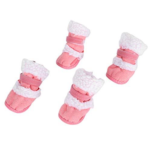 FOLOSAFENAR Bottes de Chien Chaudes d'hiver en Caoutchouc + Tissu en Peluche Chaud pour Chat Gardez Les Pattes du Chien Propres(Pink, No 4)
