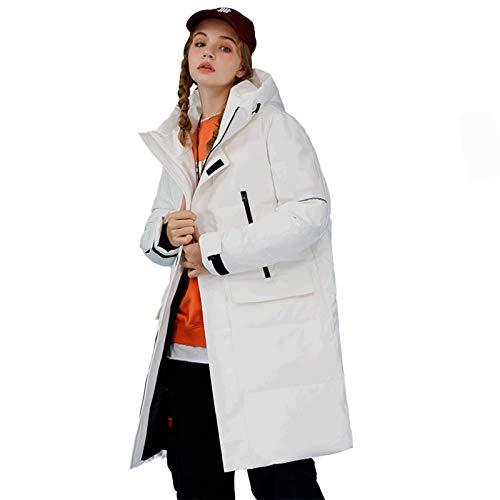 YARUM DOWNS 2020 Winter White Duck Chaqueta, De Manera Larga Mantenerse Caliente Fashion Fashion Hooded Coa Parkat, para Una Chaqueta De Pareja Abrigo Al Aire Libre,Blanco,L