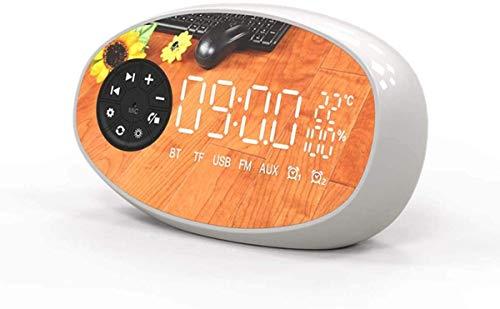 NANYUN Batterij Bediende Draadloze Digitale Alarm Klok, Digitale Alarm Klok Radio Draadloze Bluetooth Luidspreker met Temperatuur LCD Display voor Slaapkamer Desktop voor Kaart