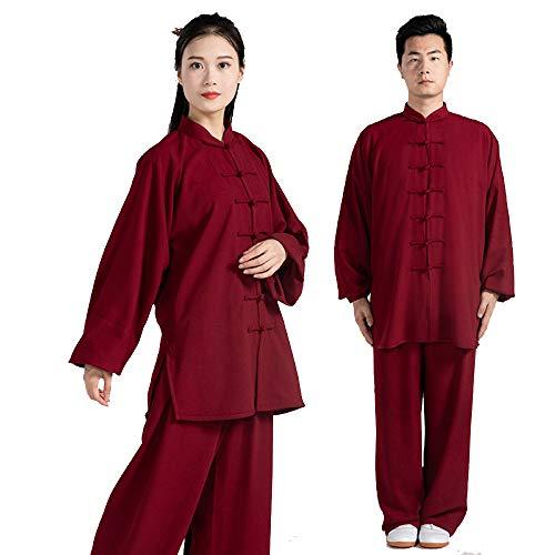 asdxz Tai Chi Anzug Herren Damen Kung Fu Uniform Kampfisport Kampfsport Hose Shaolin Anzug,Frühling Und Herbst, Baumwolle, Bewegung, Laufen, Fitness,Red-XL