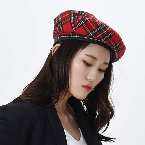 WITHMOONS帽子かわいいタータンチェック柄ミリタリーベレー帽レディースKR9539(Red)