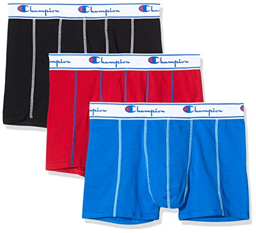 Champion Herren Boxer Coton X3 Boxershorts, Mehrfarbig (Noir/Rouge/Cobalt 9FS), S (3er Pack)