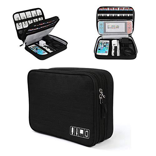 Jelly Comb Tablet Tasche, Elektronische Tasche für Tablet bis zu 11', Multi-Funktion Elektronische Organizer Reise Tasche für Nintendo Switch, Kabel, iPad, Tablet(Schwarz)