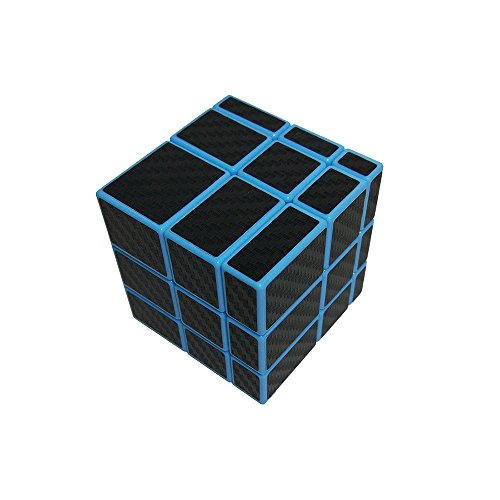 Wings of wind - Smooth 3x3x3 Ungleicher Zauberwürfel, Carbon Fiber Sticker 3x3 Spiegel Puzzle Cube (Blau)