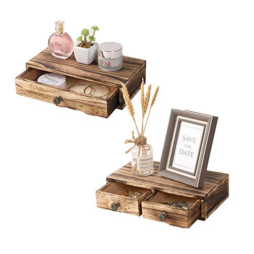 YCOCO Floating Shelf with Drawer Rustic Wood Wall Shelves for Storage and Display Multiuse,Farmhouse...