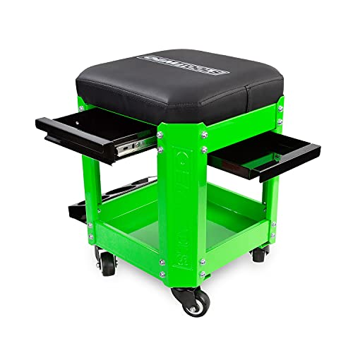 OEMTOOLS 24993 Green Rolling Workshop Mechanics Creeper Seat with 2 Tool Storage Drawers Under Seat, Parts Storage, & Can Holders, Rolling Stool for Mechanic Tools