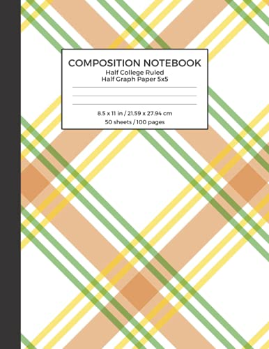 Composition Notebook Half College Ruled Half Graph Paper 5x5: St. Patrick's Day Themed Cover, Dual Designed Mixed Paper Style Notebook