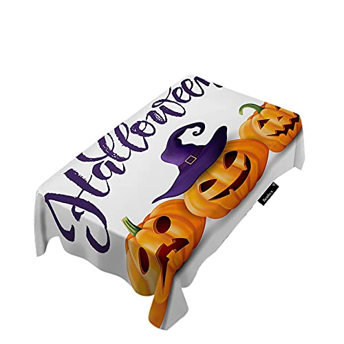 Beabes Pumpkin On Witch Hat Table Cloth Cartoon Halloween Jack Lantern Autumn Food Rectangle Tablecloths Table Covers for Dinner Restaurant Kitchen Wedding Polyester 60x90 Inch